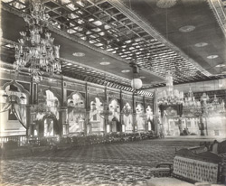 [Interior of the] The Mandwa erected for the celebration of the marriage of the Heir-apparant Prince Sherzamakhanji [Junagadh]